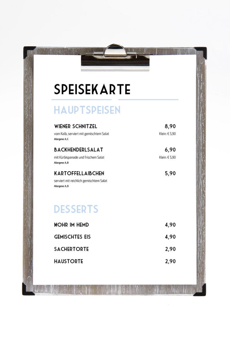 Neufundland - Beispiel - Individuelles Speisekarten Design