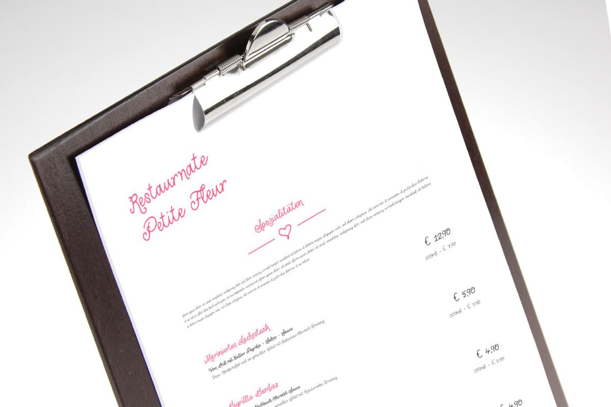 Petite Fleur - Beispiel - Individuelles Speisekarten Design