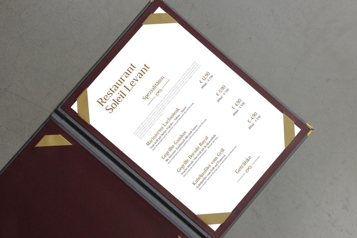 Soleil Levant - Beispiel - Individuelles Speisekarten Design